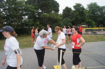 Auntie Terry working the finish line